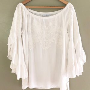 Fever Embroidered White Off the Shoulder New Top M